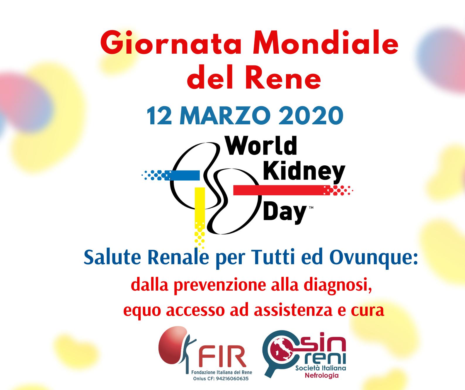 Rinviate a data da destinarsi le iniziative previste per la Giornata Mondiale del Rene 2020